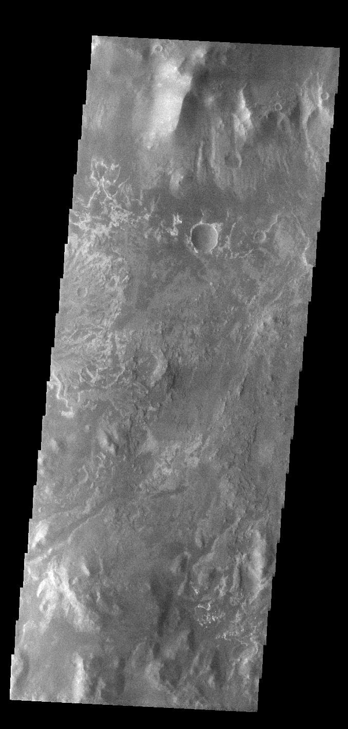 This image from NASA's Mars Odyssey shows the delta deposit on the floor of Eberswalde Crater.