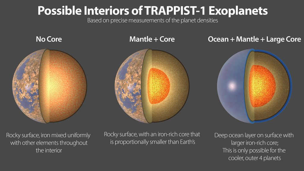 Three possible interiors of the TRAPPIST-1 exoplanets. All seven planets have very similar densities, so they likely have a similar compositions.