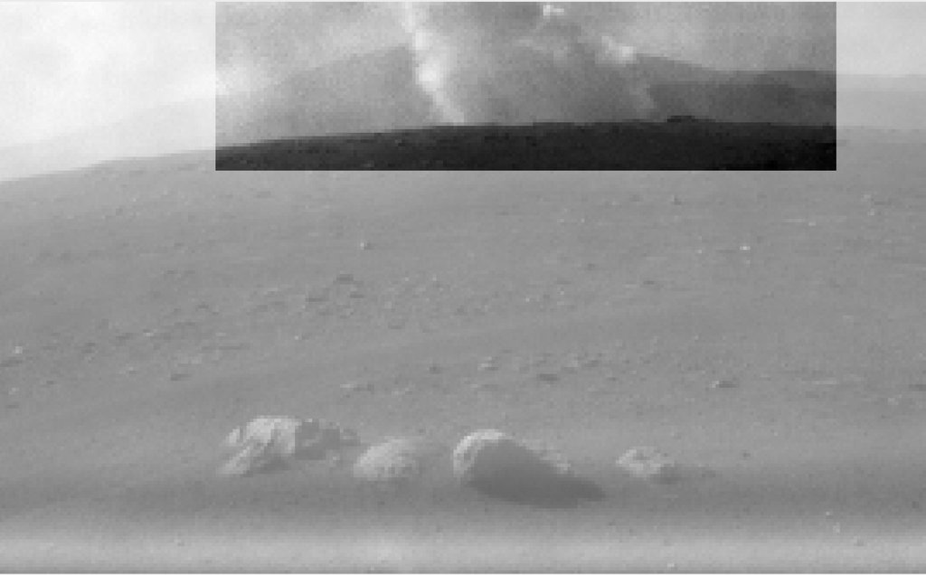 This image from one of the rear Hazcams, aboard NASA's Perseverance Mars rover, shows a smoke plume from the crashed descent stage that lowered the rover to the Martian surface.