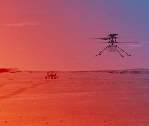 Ingenuity Helicopter on Mars (Illustration)