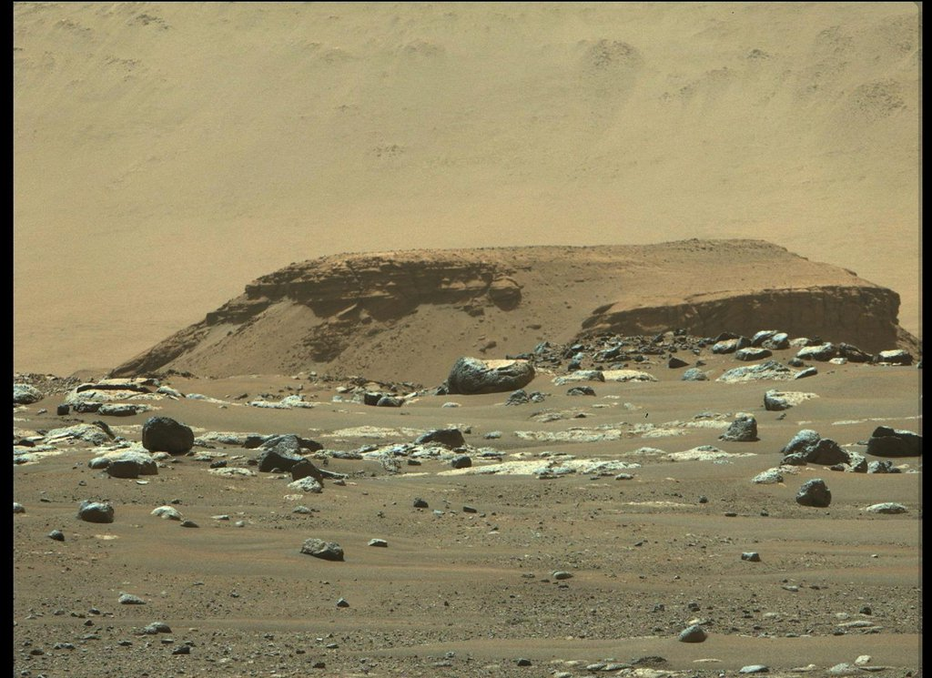 """This image of """"Kodiak"""" – one remnant of the fan-shaped deposit of sediments inside Mars' Jezero Crater known as the delta – was taken by Perseverance's Mastcam-Z instrument on Feb. 22, 2021."""
