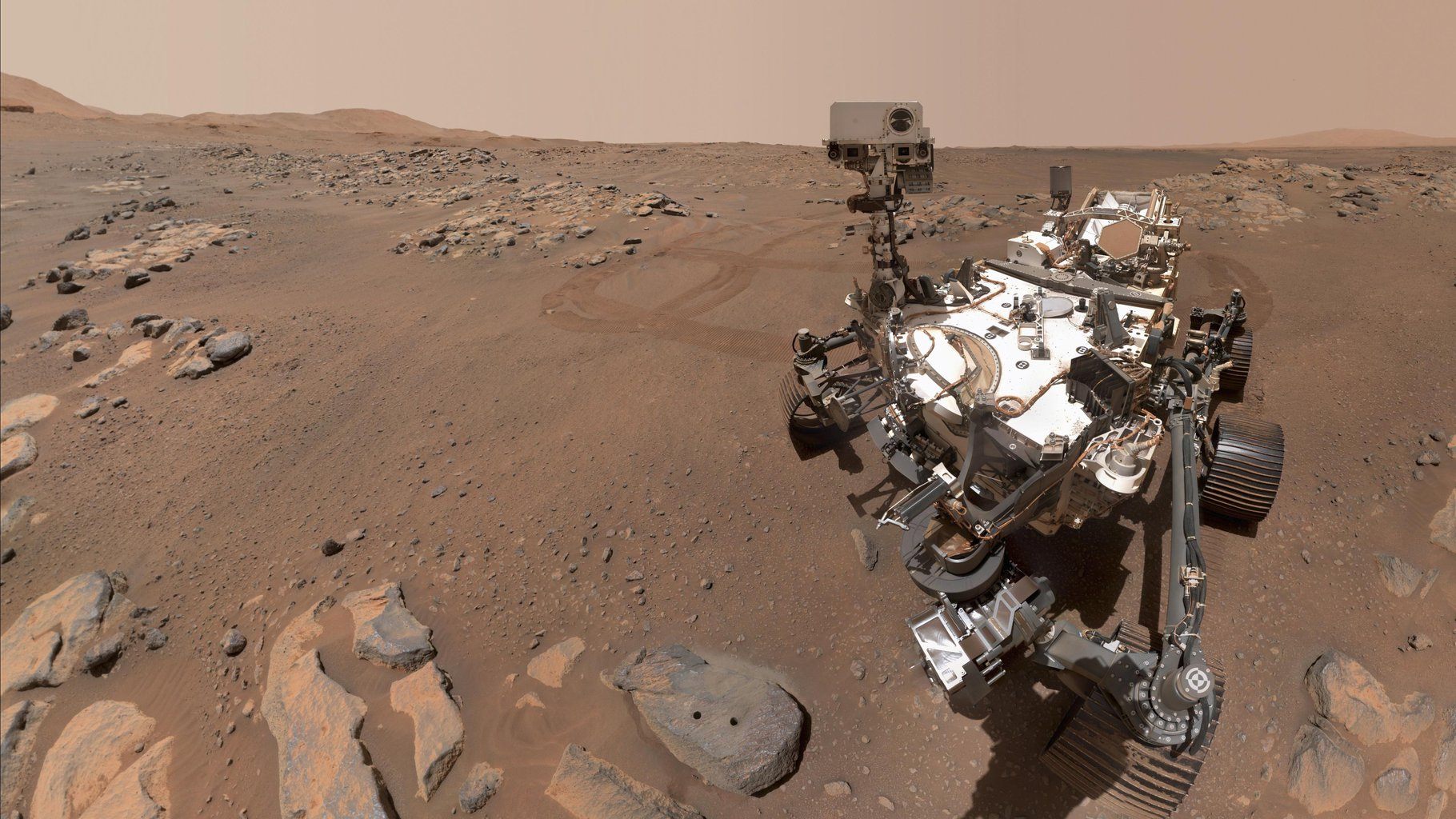 NASA's Perseverance Mars rover took this selfie over a rock nicknamed Rochette, on September 10, 2021. Two holes can be seen where the rover used its robotic arm to drill rock core samples.