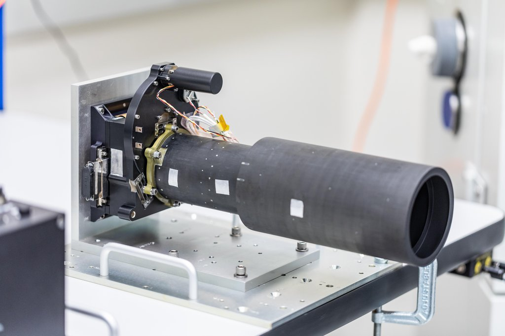 This photo shows Psyche's multispectral imager, in the process of assembly and testing on September 13, 2021, at Malin Space Science Systems in San Diego, California.