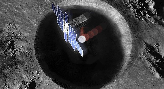 Artist's concept showing the Lunar Flashlight spacecraft (from above) searching for ice on the Moon's surface using special lasers